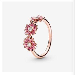 Pandora Pink Daisy Flower Ring Trio
